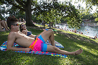 Texas, Austin, Barton Springs Pool, a nationally recognized natural swimming pool lies in the historic Zilker Park. The pool is spring fed, over 900 feet long and the average temperature year round is 68 degrees Fahrenheit.