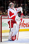 21 November 2009: Detroit Red Wings' goaltender Jimmy Howard warms up prior to facing the Montreal Canadiens at the Bell Centre in Montreal, Quebec, Canada. The Canadiens, wearing their original season 1909-10 throwback uniforms fell to the visiting Red Wings in a 3-2 shootout. Mandatory Credit: Ed Wolfstein Photo