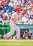 25 July 2013: Washington Nationals outfielder Bryce Harper at bat during a game against the Pittsburgh Pirates at Nationals Park in Washington, DC. The Nationals salvaged the last game of their series, winning 9-7 ending their 6-game losing streak. Mandatory Credit: Ed Wolfstein Photo *** RAW (NEF) Image File Available ***
