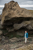 Lori stands in the tide pools at Beach 4 near Kalalock in Olympic National Park, Washington on July 20, 2016. When the tide goes out the animals living on these rocks get stranded out of water until the tide comes back in.