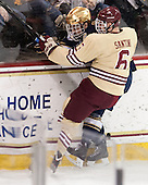 Jeff Costello (ND - 11), Steven Santini (BC - 6) - The visiting University of Notre Dame Fighting Irish defeated the Boston College Eagles 2-1 in overtime on Saturday, March 1, 2014, at Kelley Rink in Conte Forum in Chestnut Hill, Massachusetts.