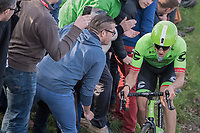 Sep Vanmarcke (BEL Cannondale-Drapac) riding (very) close to the fans up the Oude Kwaremont<br /> <br /> 60th E3 Harelbeke (1.UWT)<br /> 1day race: Harelbeke &rsaquo; Harelbeke - BEL (206km)