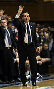 Duke head coach Mike Krzyzewski yells a play to his team. Duke beat Belmont 77-76 on Friday, November 11, 2011 at Cameron Indoor Stadium in Durham, NC. It was win number 901 for Duke head coach Mike Krzyzewski, making him only two wins away from the NCAA DivisionI all-time win record. Photo by Al Drago.