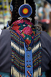 Close up of Native American Pow Wow Regalia. Examples of ethnic pride, heritage, celebration, and traditional folk art crafts