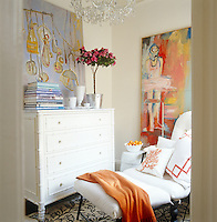 """The paintings in the guest bedroom are """"Ballerina"""" by Georgiana Fastaia and an untitled work by Jeanne Jackson"""