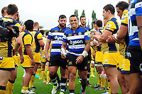 Kahn Fotuali'i of Bath Rugby is all smiles after the match. Aviva Premiership match, between Bath Rugby and Worcester Warriors on September 17, 2016 at the Recreation Ground in Bath, England. Photo by: Patrick Khachfe / Onside Images