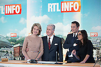 King Philippe & Queen Mathilde of Belgium visit the RTL House Television Studios in Brussels