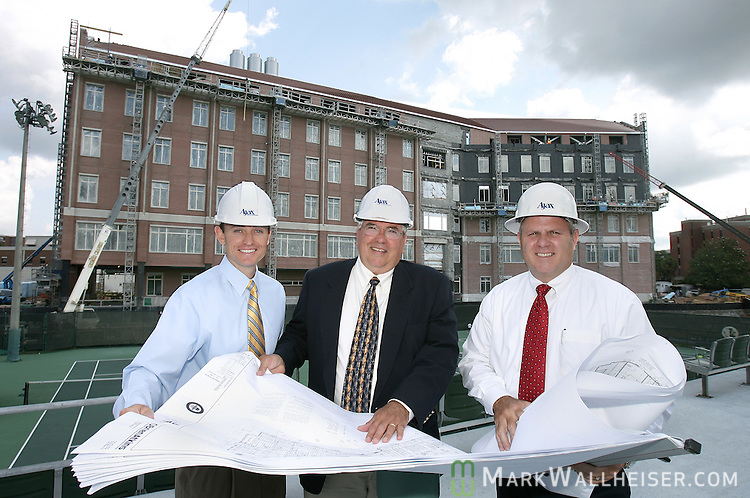 From left are Jay smith, vice president, Douglas Smith, chairman, and Bill Byrne, president of Ajax Building Corp. in front of the new chemistry building on the FSU campus in Tallahassee, Florida June 6, 2007.  (Mark Wallheiser/TallahasseeStock.com)