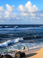 A surfer takes his surfboard to the water's edge at Ho'okipa Beach, Maui.