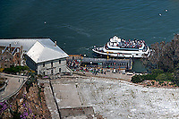 aerial photograph tourists boarding ferry boat Alcatraz island San Francisco