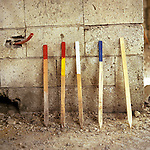 Coloured staves used by the operatives to mark unexploded ordnance sites, Basouriah, Southern Lebanon.The area was heavily contaminated with unexploded ordnance after the Lebanon-Israeli war in 2006 - especially with Cluster bobs. International NGO's like Handicap International trained local staff as operatives to locate and dispose of the threat.