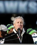Seattle Seahawks head coach Pete Carroll talks to fans during the Super Bowl XLVIII celebration at  CenturyLink Field on February 5, 2014 in Seattle.