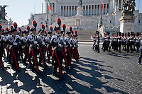Roma 25 Aprile 2014<br /> Cerimonia  per la Festa della Liberazione  dal nazi fascismo all 'Altare della Patria,il Reggimento Granatieri di Sardegna e Carabinieri in alta uniforme<br /> Rome April 25, 2014 <br /> Ceremony for the Liberation Day from Nazi fascism at Altare della Patria (Altar of the Fatherland) in Rome, the Regiment of Grenadiers of Sardinia  and Carabinieri in full uniform