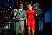 SURFERS PARADISE, Queensland/Australia (Friday, March 1, 2013) - 2012 World Surfing Champions Joel Parkinson (AUS and Stephanie Gilmore (AUS). The world's best surfers congregated last night at the QT Hotel in Surfers Paradise to celebrate the 2013 ASP World Surfing Awards, officially crowning last year's ASP World Champions and welcoming in the new year..Joel Parkinson (AUS), 31, long considered to be a threat to the ASP World Title ever since his inception amongst the world's elite over a decade ago, was awarded his maiden crown last night. Amidst a capacity crowd of the world's best surfers and hometown supporters, the Gold Coast stalwart brought the house down with a heartfelt and emotional speech..?It's beautiful to have everyone here tonight,? Parkinson said. ?We all come together and really celebrate last season amongst our friends and family. The new year, for me, begins tomorrow. Tonight, I just feel so fortunate to be up here and to be supported by my beautiful family. I love them and am only here because of them.?.FULL LIST OF AWARDS' RECIPIENTS:.2012 ASP World Champion: Joel Parkinson (AUS).2012 ASP World Runner-Up: Kelly Slater (USA).2012 ASP Rookie of the Year: John John Florence (HAW).2012 ASP Women's World Champion: Stephanie Gilmore (AUS).2012 ASP Women's World Runner-up: Sally Fitzgibbons (AUS).2012 ASP Women's Rookie of the Year: Malia Manuel (HAW).2012 ASP Breakthrough Performer: Sebastian Zietz (HAW).2012 ASP Women's Breakthrough Performer: Lakey Peterson (USA).2012 ASP World Longboard Champion: Taylor Jensen (USA).2012 ASP Women's World Longboard Champion: Kelia Moniz (HAW).2012 ASP World Junior Champion: Jack Freestone (AUS).2012 ASP Women's World Junior Champion: Nikki Van Dijk (AUS).ASP Life Member/Chairman Emeritus: Richard Grellman.ASP Service to the Sport: Randy Rarick.Peter Whittaker Award: Adrian Buchan.2012 ASP Men's Heat of the Year (Fan Vote): Mick Fanning (AUS) vs. Kelly Slater (USA) - Rip Curl