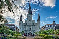This is the historic Jackson Square in the French Quarter in New Orleans Louisianna.  This area is considered the oldest part of New Orleans and is a landmark.  The tourist flock here every years as it is a hub to the city with St. Louis Catherdral and the beautiful park setting how can you not visit the area.  Artist and musicians sell their wares along with palm readers and physics.