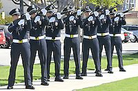 Santa Monica Police officers fire off a twenty-one-gun salute at during  the Police/Fire Public Safety Memorial on Wednesday, May 16, 2012. The memorial recognized public safety officers who gave their lives in the line of duty to protect the citizens of Santa Monica..