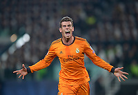 FUSSBALL   CHAMPIONS LEAGUE   SAISON 2013/2014   Vorrunde  Juventus Turin - Real Madrid     05.11.2013 JUBEL Real Madrid; Gareth Bale freut sich ueber sein Tor zur 1-2 Fuehrung