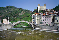 Italy, Liguria, Dolceacqua: old mountain village with river Nervia near Ventimiglia at Val Nervia, with Castello dei Doria and bridge Ponte Vecchio di Dolceacqua