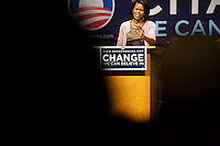 Michelle Obama speaks at Strand-Capitol Performing Arts Center during her husband  Barack Obama's campaign for the Democratic nomination for president, York, Pennsylvania, April 15, 2008.