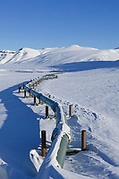 Trans Alaska Oil Pipeline crosses the snow covered tundra of the Brooks range, Arctic, Alaska