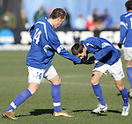 3 December 2006: UCSB's Nick Perera (14) celebrates his third minute goal with a teammate, acting out a bullfighter and a charging bull. California-Santa Barbara defeated California-Los Angeles 2-1 at Robert R. Hermann Stadium in St. Louis, Missouri in the NCAA men's college soccer tournament final game to win the 2006 NCAA Championship.