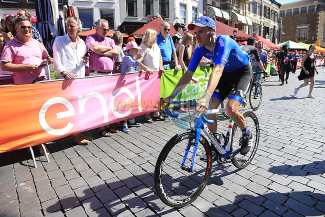 Gazprom-Rusvelo team riders arrive at sign on before the start of Stage 3 of the 2016 Giro d'Italia running 190km from Nijmegen to Arnhem, The Nethrerlands. 8th May 2016.<br /> Picture: Eoin Clarke | Newsfile<br /> <br /> <br /> All photos usage must carry mandatory copyright credit (&copy; Newsfile | Eoin Clarke)