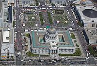 aerial photograph crowds at City Hall Civic Center San Francisco, California