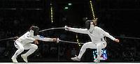 European Championships Fencing 2010 / Fecht Europameisterschaft 2010 in Leipzig - Competition Championat d'europe - im Bild: small finale -Germany against France - duel Britta Heidemann (GER, right) and Maureen NISIMA (FRA)   . Foto: Norman Rembarz..Norman Rembarz , Autorennummer 41043728 , Augustenstr. 2, 04317 Leipzig, Tel.: 01794887569, Hypovereinsbank: BLZ: 86020086, KN: 357889472, St.Nr.: 231/261/06432 - Jegliche kommerzielle Nutzung ist honorar- und mehrwertsteuerpflichtig! Persönlichkeitsrechte sind zu wahren. Es wird keine Haftung übernommen bei Verletzung von Rechten Dritter. Autoren-Nennung gem. §13 UrhGes. wird verlangt. Weitergabe an Dritte nur nach  vorheriger Absprache..