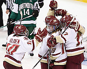 Blake Bolden (BC - 10), Alex Carpenter (BC - 5), Emily Field (BC - 15), Danielle Welch (BC - 17) - The Boston College Eagles defeated the Dartmouth College Big Green 4-3 on Sunday, October 23, 2011, at Kelley Rink in Conte Forum in Chestnut Hill, Massachusetts.