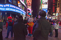 Times Square at night in the Winter