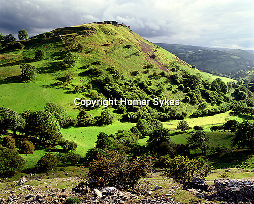 Dinas Bran, Llangollen, Denbighshire. Wales. Celtic Britain published by Orion. An Iron Age hillfort whos ramparts are still visable and now ruined medieval castle dominated the Vale of Llangollen.