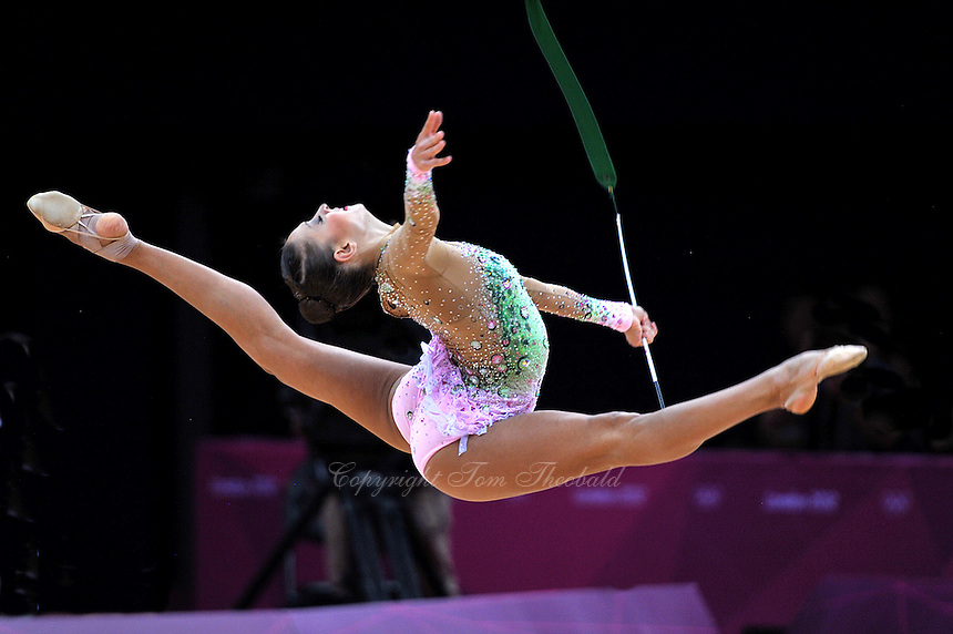 August 11, 2012; London, Great Britain;  EVGENIYA KANAEVA of Russia performs with ribbon during AA final at London 2012 Olympics.