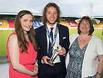 St Johnstone FC Player of the Year Awards...18.05.14<br /> Muirton Sweeties Player of the Year Award to Stevie May presented by Jess Foster ad Karen Jenkins<br /> Picture by Graeme Hart.<br /> Copyright Perthshire Picture Agency<br /> Tel: 01738 623350  Mobile: 07990 594431
