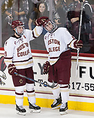 Ryan Fitzgerald (BC - 19), Colin White (BC - 18) - The Boston College Eagles defeated the visiting Colorado College Tigers 4-1 on Friday, October 21, 2016, at Kelley Rink in Conte Forum in Chestnut Hill, Massachusetts.The Boston College Eagles defeated the visiting Colorado College Tiger 4-1 on Friday, October 21, 2016, at Kelley Rink in Conte Forum in Chestnut Hill, Massachusett.
