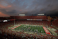 Lights highlight the band during pre game at OhioStadium September 6, 2014. (Dispatch photo by Eric Albrecht)