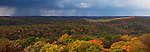 Storm clouds over fall nature panoramic scenery. Dorset, Muskoka, Ontario, Canada.
