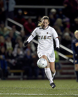 """Boston College forward Brooke Knowlton (16) traps the ball. Boston College defeated West Virginia, 4-0, in NCAA tournament """"Sweet 16"""" match at Newton Soccer Field, Newton, MA."""