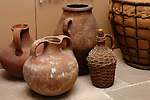Stock photo of Ceramic pots and jugs History of wine and winegrowing Cyprus Wine Museum Horizontal