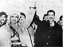 Iraq 1970.Nawperdan: General Barzani and Saddam Hussein sign the 11th of march agreement.Irak 1970.Signature de l'accord du 11 mars a Nawperdan avec le general Barzani et Saddam Hussein