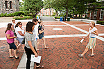08/09/2011 - Medford/Somerville, Mass. - Maddy Conway, A13, leads a tour of the Medford/Somerville Campus for prospective undergraduate students.   (Alonso Nichols/Tufts University)