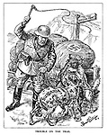 Trouble on the Trail. (a Nazi soldier whips the dogs of Bulgaria, Romania and Hungary as he forces them to go to the Russian Front)