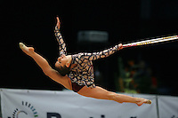 Simona Paisieva of Bulgaria split leaps with hoop at 2008 Portimao World Cup of Rhythmic Gymnastics on April 20, 2008.  Photo by Tom Theobald.