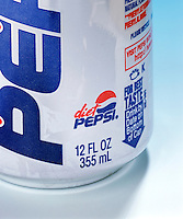 METRIC CONVERSION ON PEPSI COLA CAN - Closeup<br />