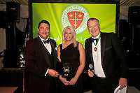 Solicitor of the Year Andrew Brammer of Cartwright King receives his award from Claire Dickerson of sponsors Blusource Legal and Club President Austin Moore
