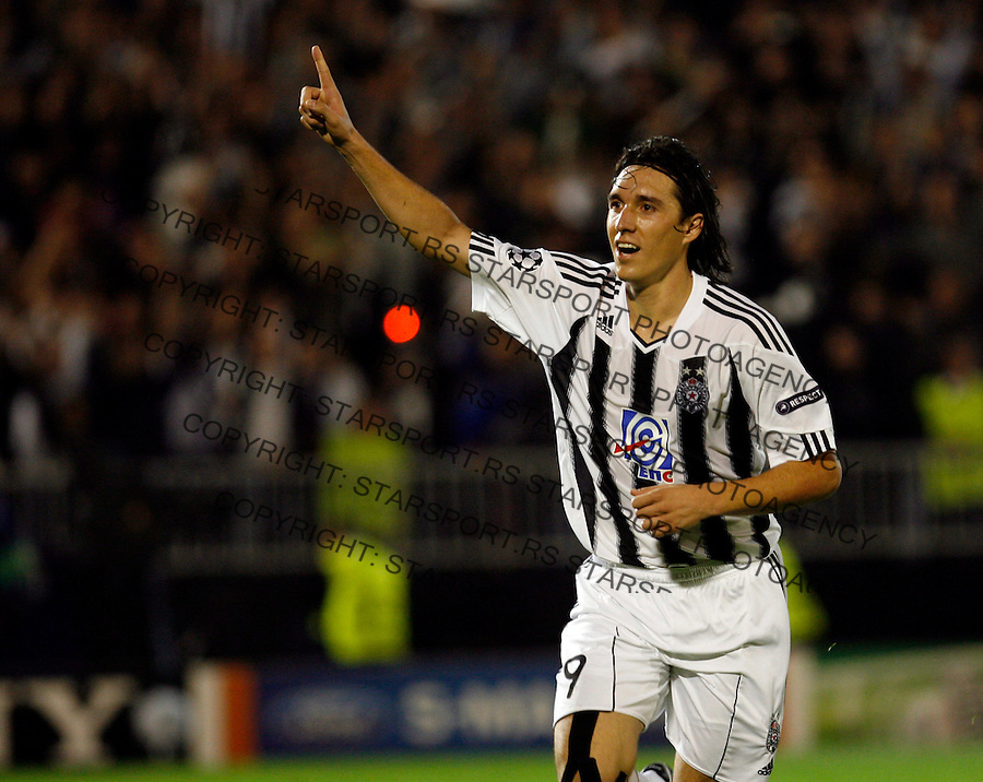 Partizan Belgrade Cleverson Gabriel Cordova Cleo Kleo celebrates goal during  UEFA Champions League group H match Partizan v Arsenal ,Tuesday, September 28, 2010. (credit & photo: Pedja Milosavljevic / +381 64 1260 959 / thepedja@gmail.com)