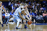 01 March 2015: North Carolina's Latifah Coleman (left) and Duke's Erin Mathias (right) reach for a loose ball. The Duke University Blue Devils hosted the University of North Carolina Tar Heels at Cameron Indoor Stadium in Durham, North Carolina in a 2014-15 NCAA Division I Women's Basketball game. Duke won the game 81-80.