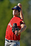 8 July 2012: State College Spikes pitcher Clay Holmes on the mound against the Vermont Lake Monsters at Centennial Field in Burlington, Vermont. The Spikes fell to the Lake Monsters 8-2 in NY Penn League action. Mandatory Credit: Ed Wolfstein Photo