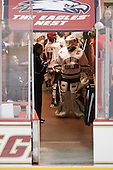 Molly Schaus (BC - 30) waits to lead her teammates out to the ice. - The Boston College Eagles and the visiting University of New Hampshire Wildcats played to a scoreless tie in BC's senior game on Saturday, February 19, 2011, at Conte Forum in Chestnut Hill, Massachusetts.