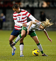 Shannon Boxx defends during the second half. USWNT played played a friendly against Ireland at JELD-WEN Field in Portland, Oregon on November 28, 2012.