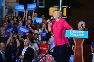 Harrisburg, PA - July 29, 2016: Democratic presidential candidate Hillary Clinton speaks to supporters at the Broad street Market in Harrisburg, PA, during a campaign stop on the Clinton/Kaine bus tour July 29, 2016. (Photo by Don Baxter/Media Images International)